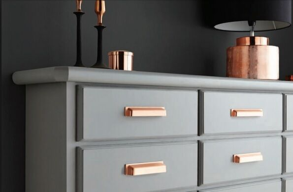 kitchen cabinets with pressed cup handles