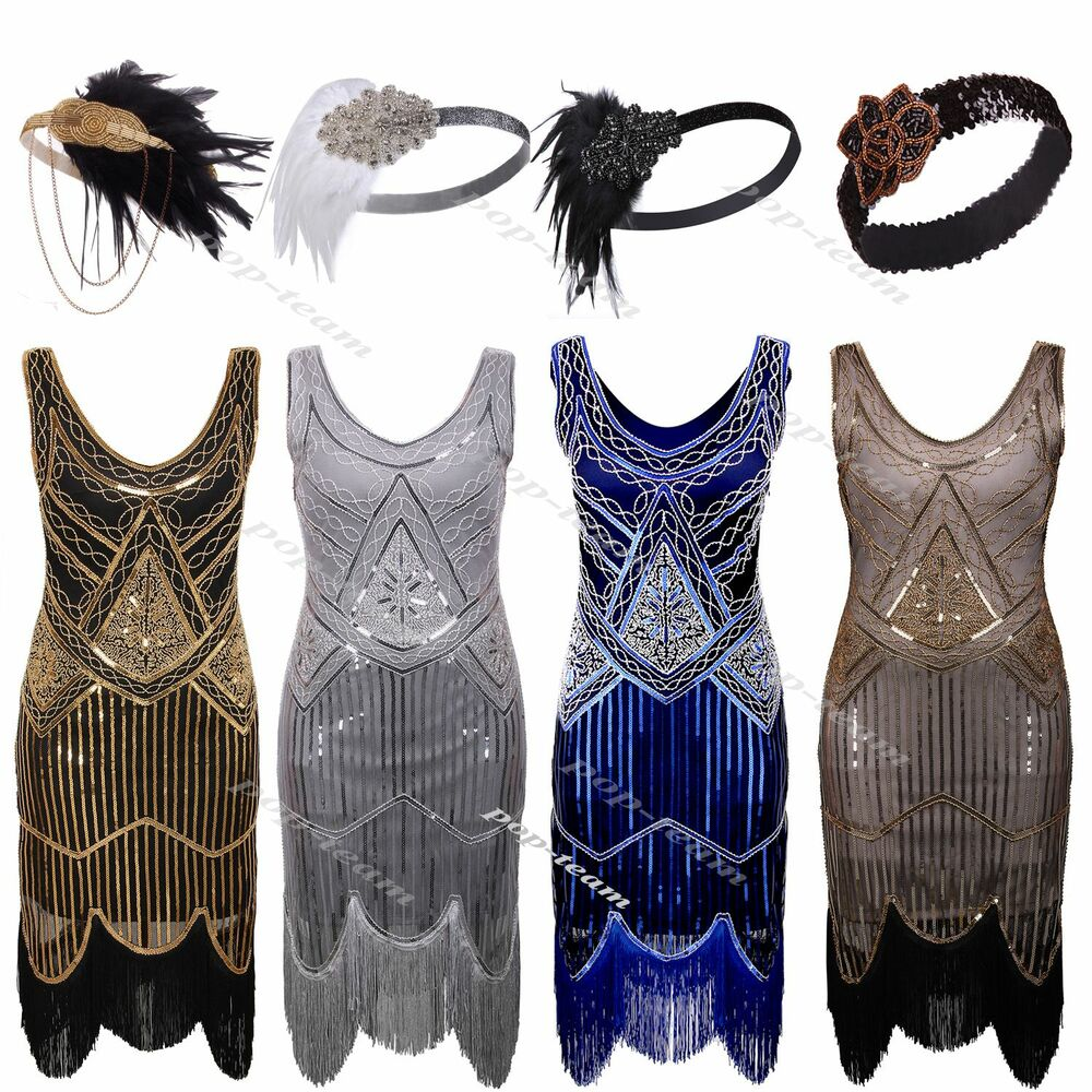 5fb5c6bc Details about 1920s Flapper Dress Gatsby Charleston Deco Beaded Sequin  Fringed Party Costume