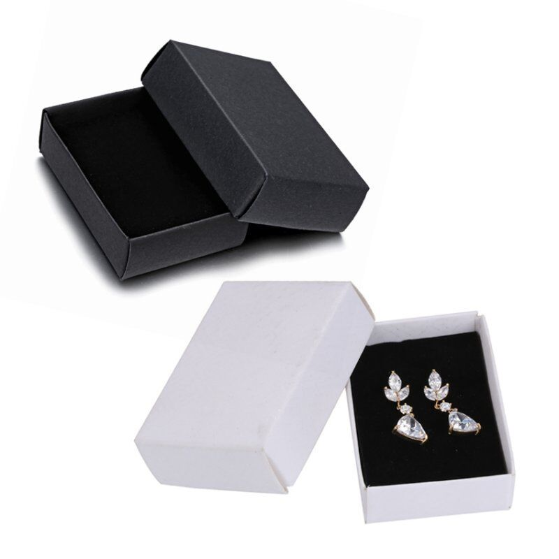 wholesale black jewelry paper gift boxes for ring earring