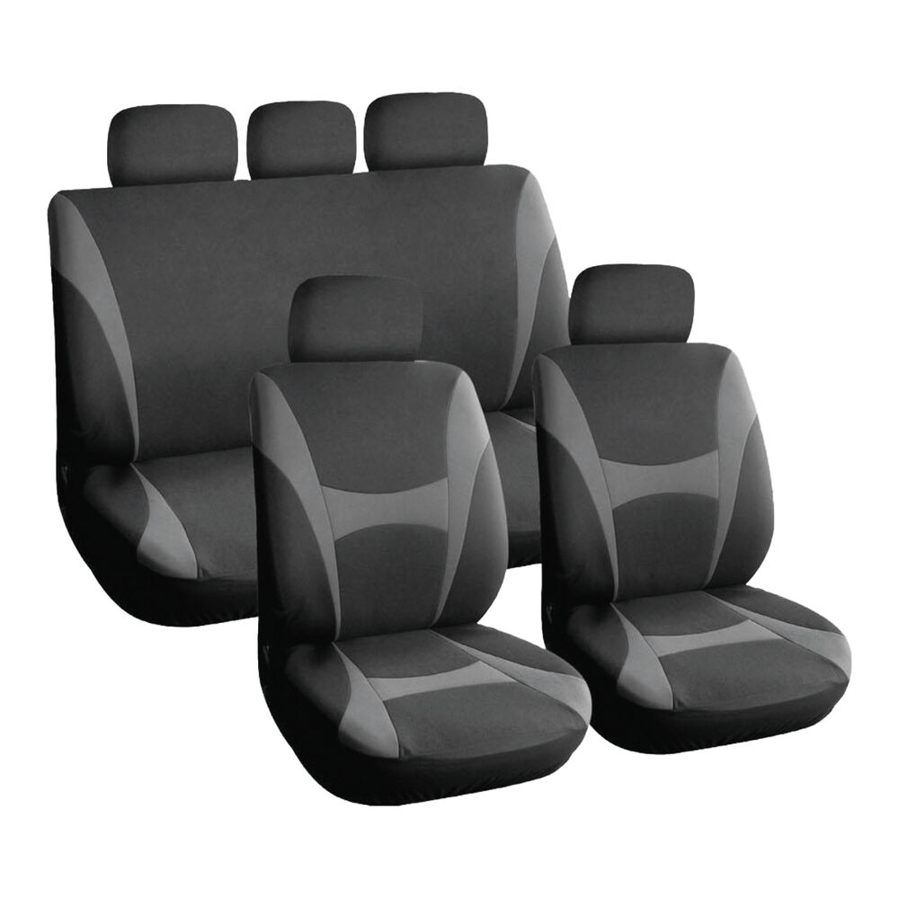 grey and black executive car seat covers front rear plush velour 8 piece ebay. Black Bedroom Furniture Sets. Home Design Ideas