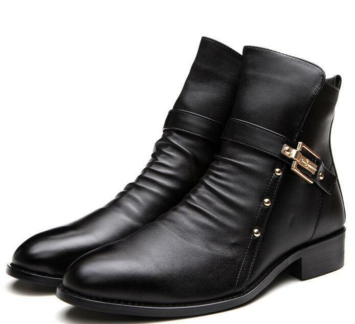 mens fashion zip pointed toe ankle boots casual leather