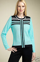 NWT Exclusively MISOOK  SOFT AQUA Blue Acrylic zipper JACKET (sizes PXS, XS & M)