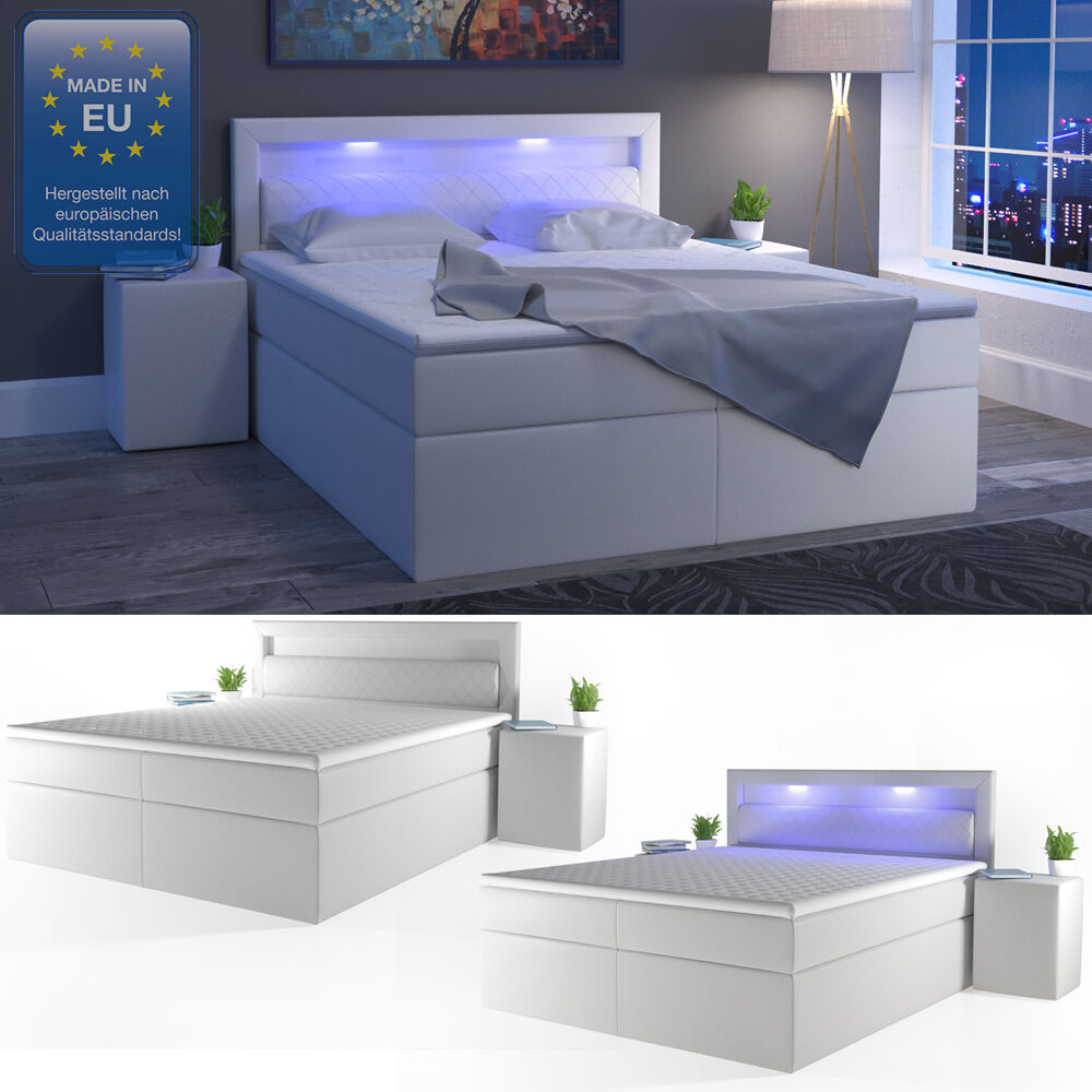design boxspringbett 180x200 cm h2 led doppelbett bett hotelbett pu leder wei 4260486832304 ebay. Black Bedroom Furniture Sets. Home Design Ideas