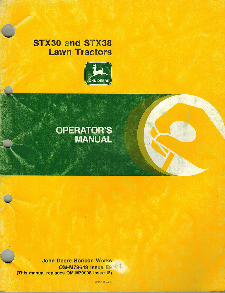 john deere stx30 stx38 riding mower operator u0026 39 s manual