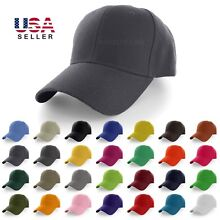 Plain Baseball Cap Solid Color Blank Curved Visor Hat Adjustable Polo Caps New