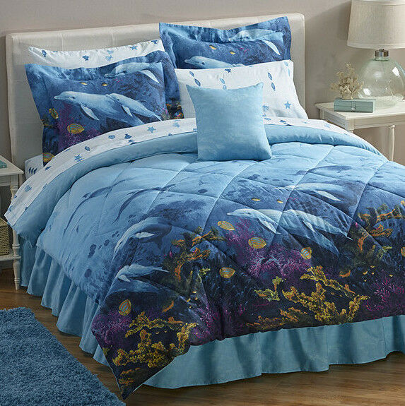 dolphins tropical nautical comforter set 8 bed in a bag ebay