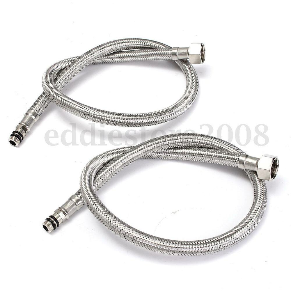 2pcs 24 39 39 Length Line Pipe 3 8 39 39 Stainless Steel Flexible Faucet Braided Hose Tap Ebay
