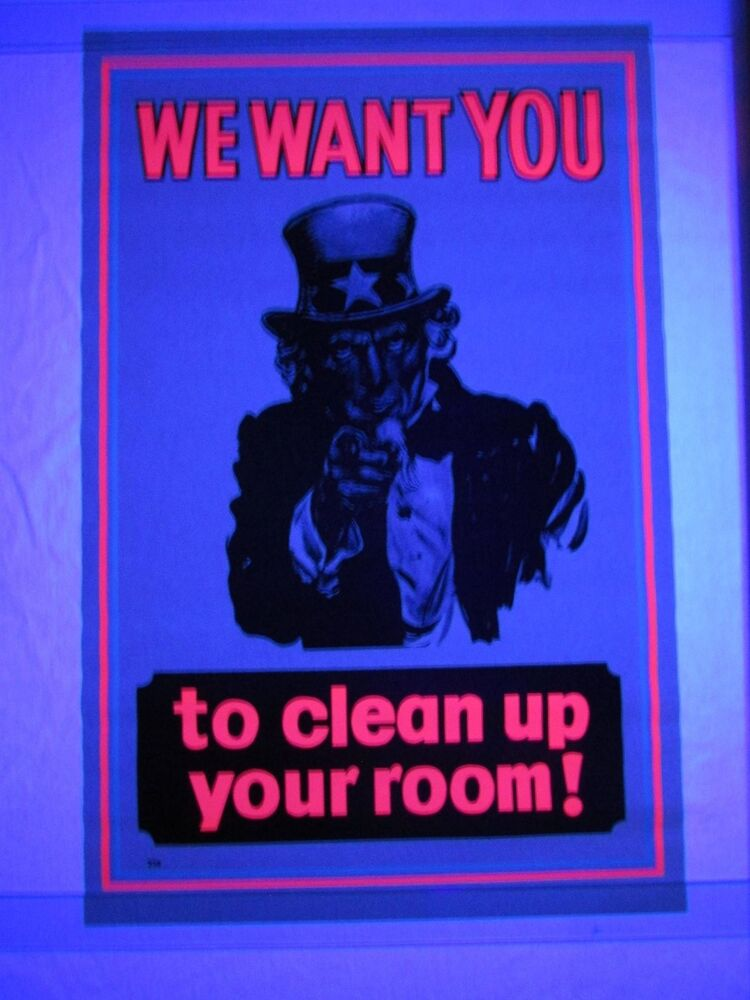 Vintage psychedelic blacklight poster uncle sam clean up for Cool posters for your room