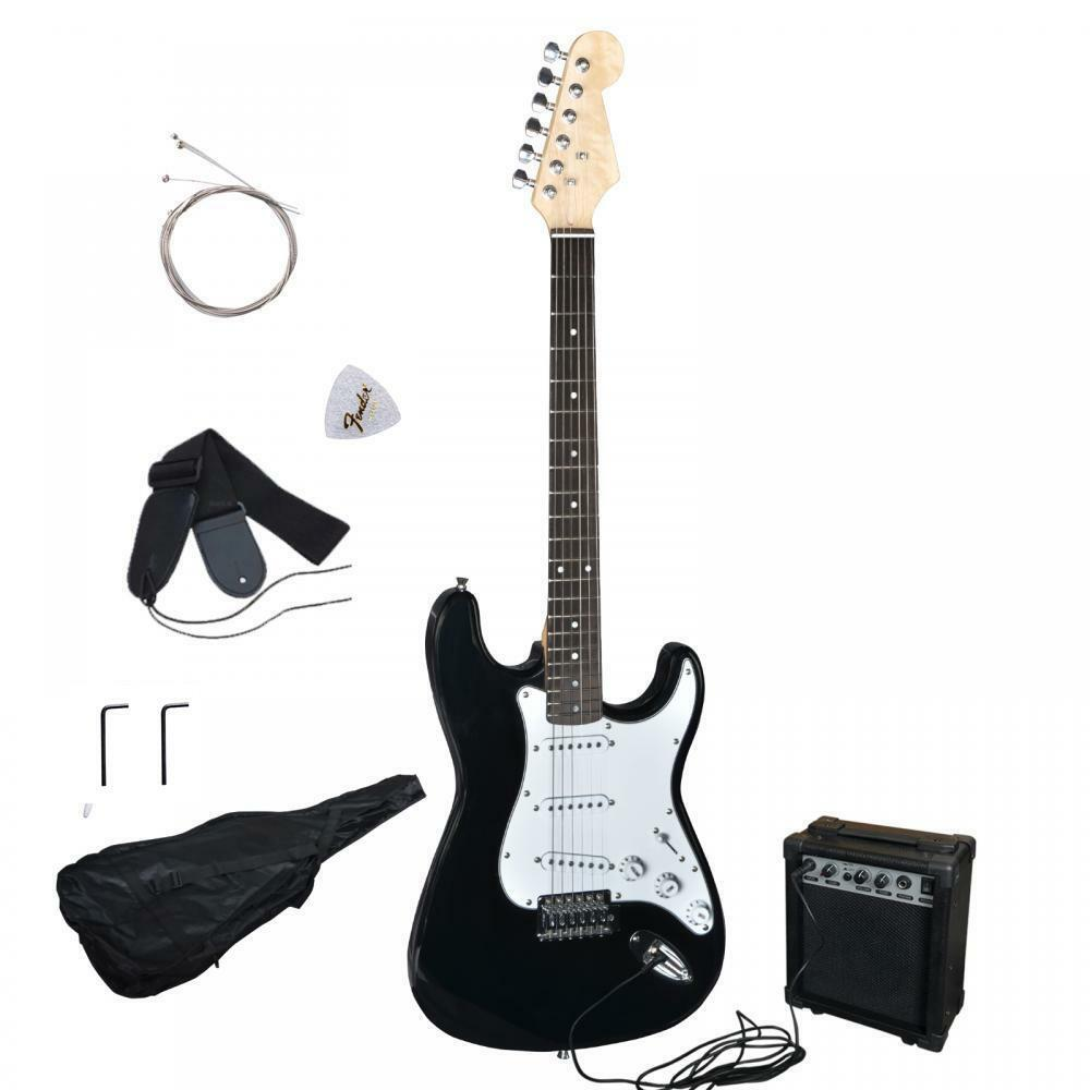 new black electric guitar with amp case and accessories pack beginner starter ebay. Black Bedroom Furniture Sets. Home Design Ideas
