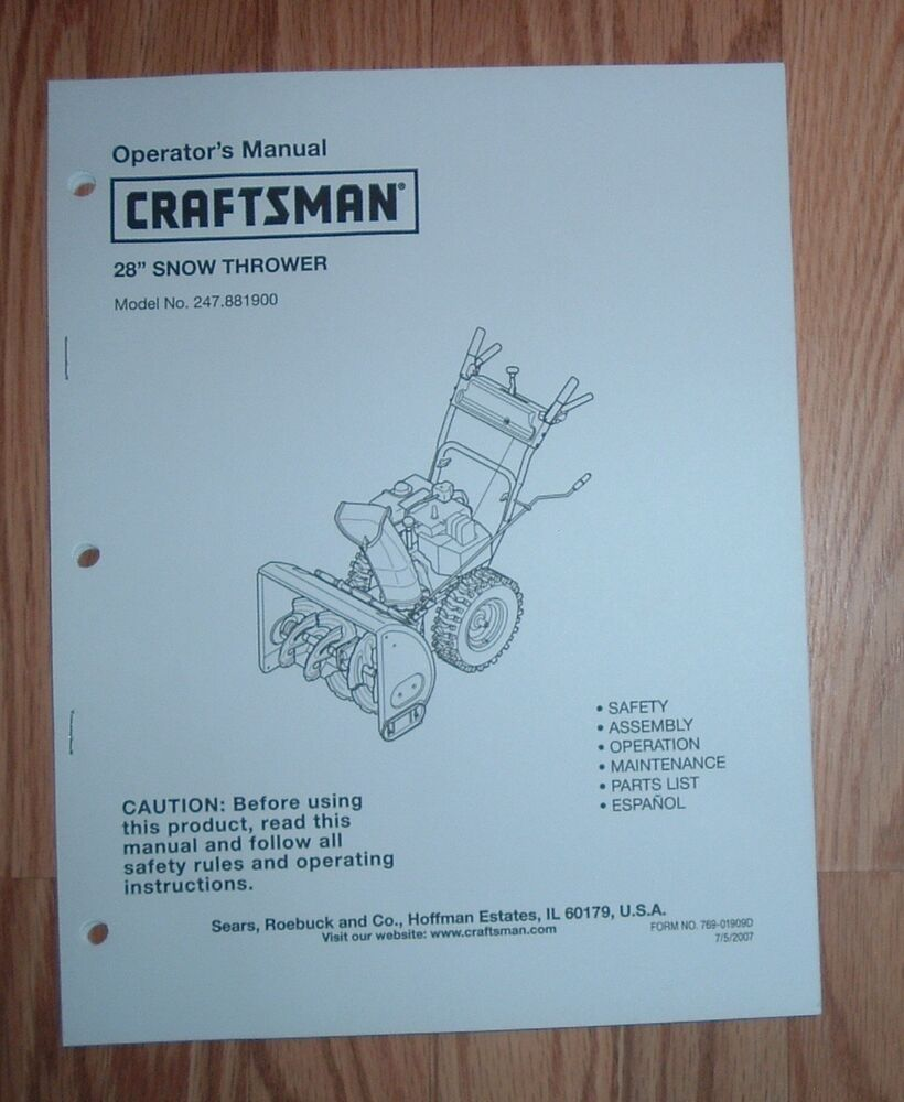 Craftsman Snow Thrower Parts Manual : Craftsman snow thrower owners manual with