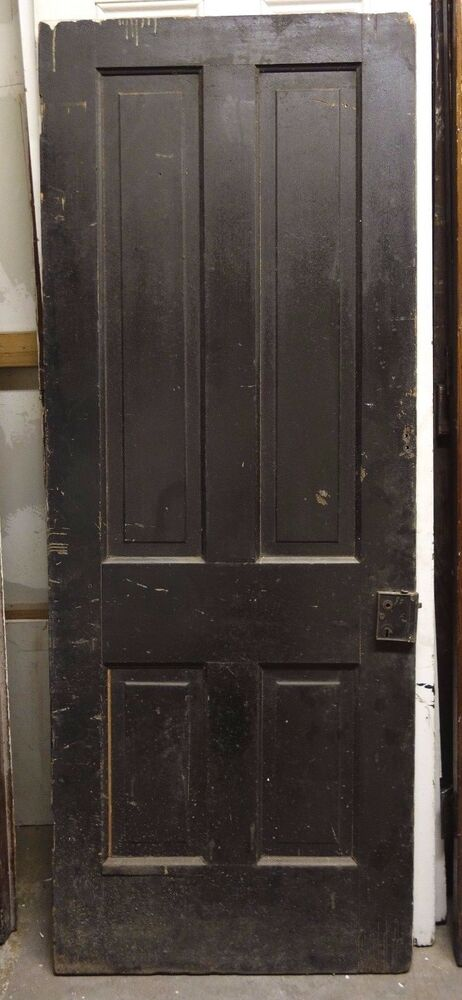 Antique architectural salvage door 30 x 77 black wood for Old wood doors salvaged