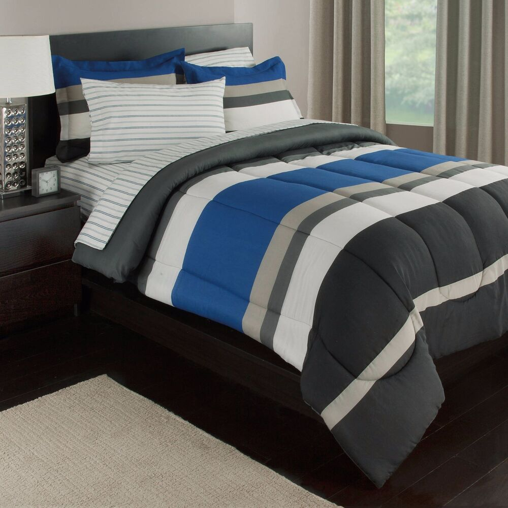 blue white gray stripes boys teen twin comforter set 5 piece bed in a bag ebay. Black Bedroom Furniture Sets. Home Design Ideas
