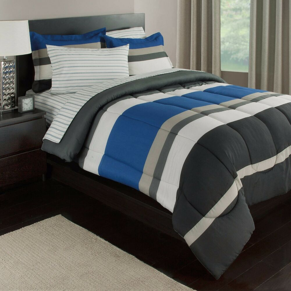 blue white gray stripes boys teen full comforter set 7 10920 | s l1000