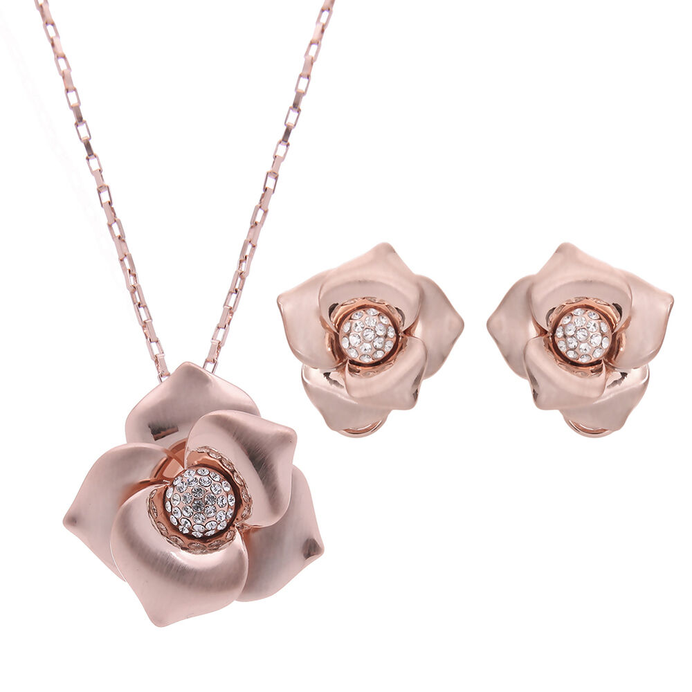 Clear Rhinestone Rose Gold Plated Earrings Pendant ...