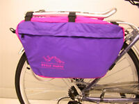 PAIR TRENDY PURPLE NYLON TYPE CYCLE PANNIER BIKE BAGS BICYCLE REAR BAG BARGAIN
