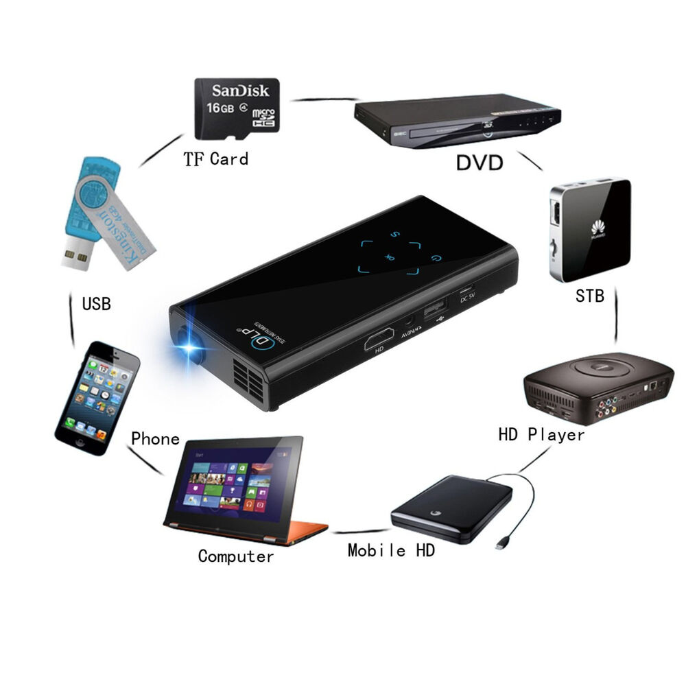 Fugetek fg 957 dlp pico mini video projector power bank for Hdmi pocket projector