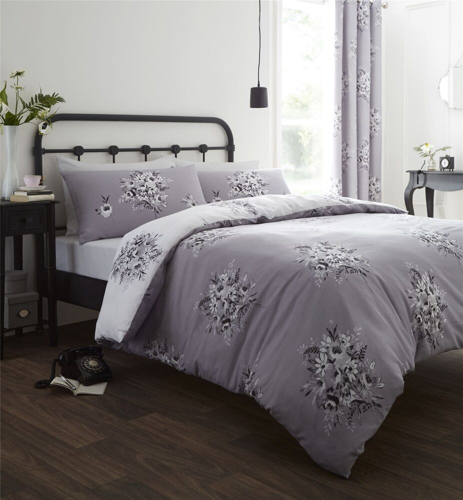 Floral Flower Bouquet Grey White Single Cotton Blend Duvet