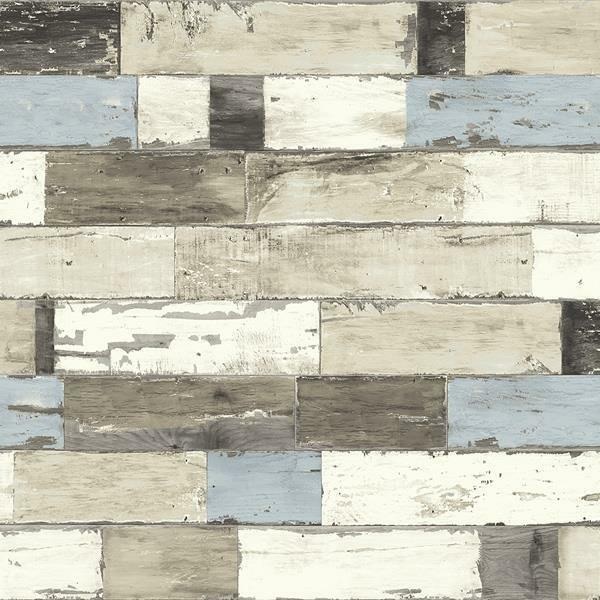 Wallpaper rustic reclaimed weathered faux wood planks blue for Adhesive reclaimed wood planks