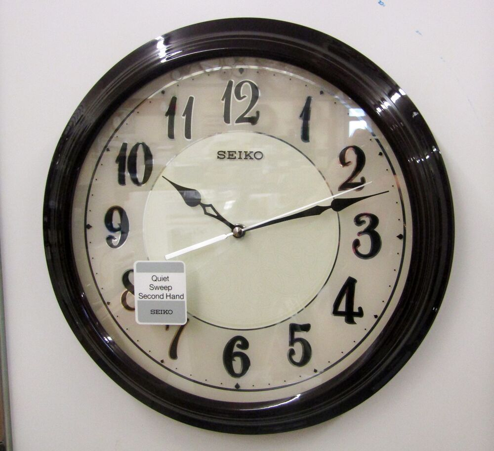 New Seiko Wall Clock Dark Brown Wooden Case 13 Quot Diameter