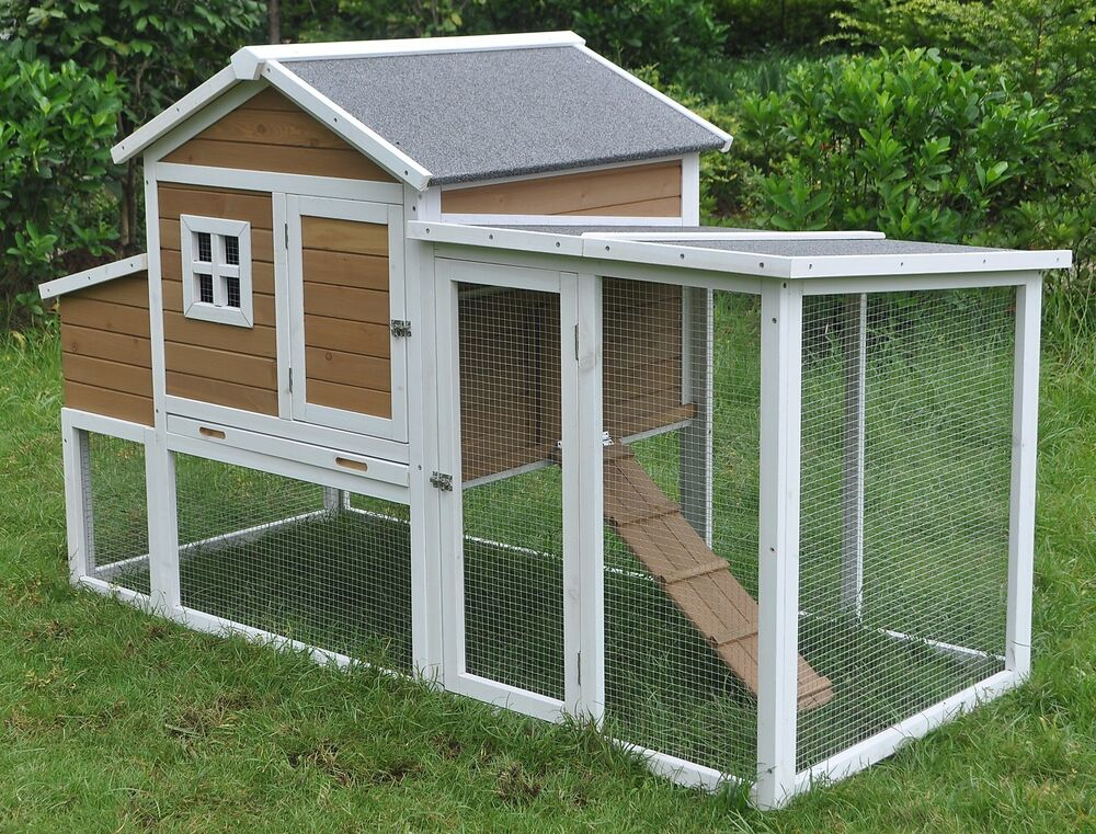 Deluxe large wood chicken coop backyard hen house 4 6 for Chicken coop size for 6 chickens