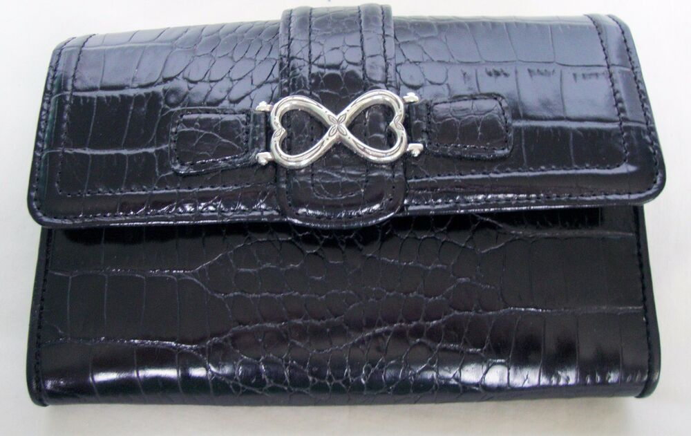 Brighton Black Croc Embossed Leather Wallet With Silver
