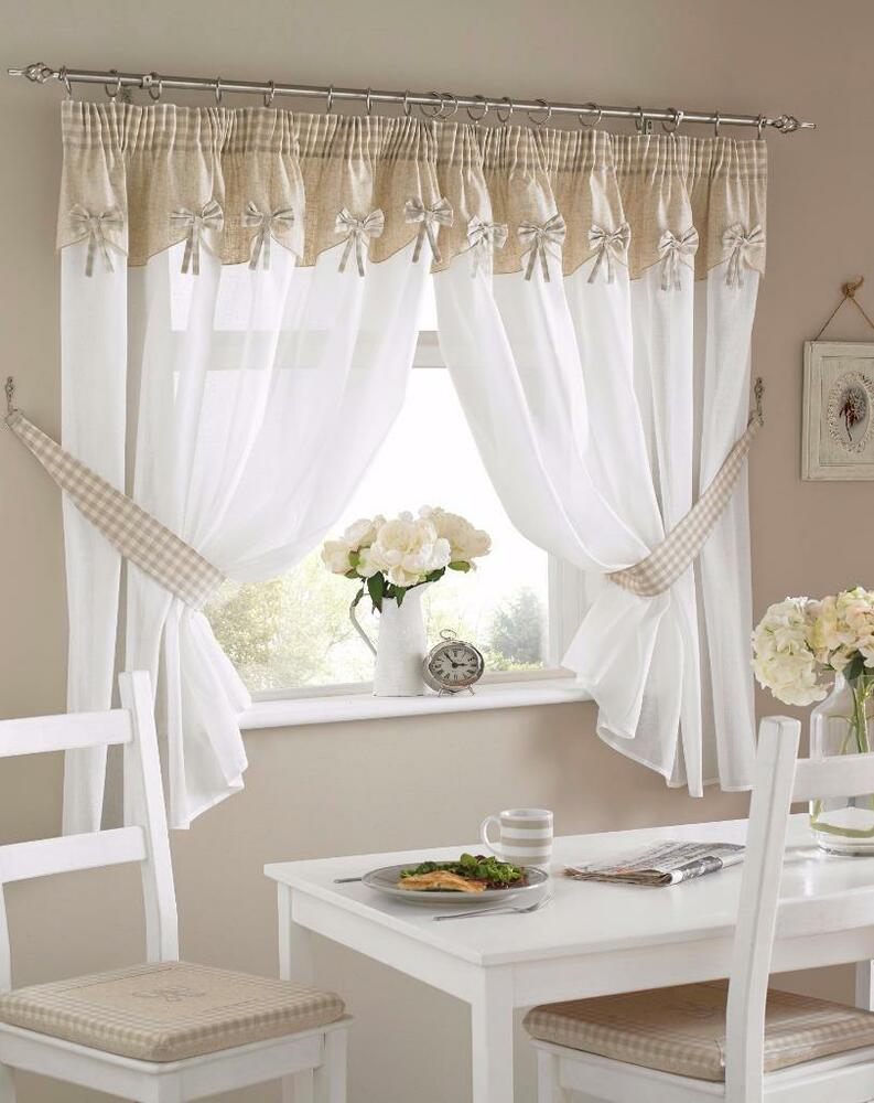 One pair of gingham bow design kitchen curtains inc for Tende in voile