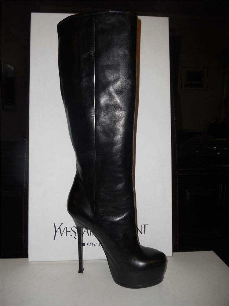 ysl yves laurent tribtoo black leather platform knee