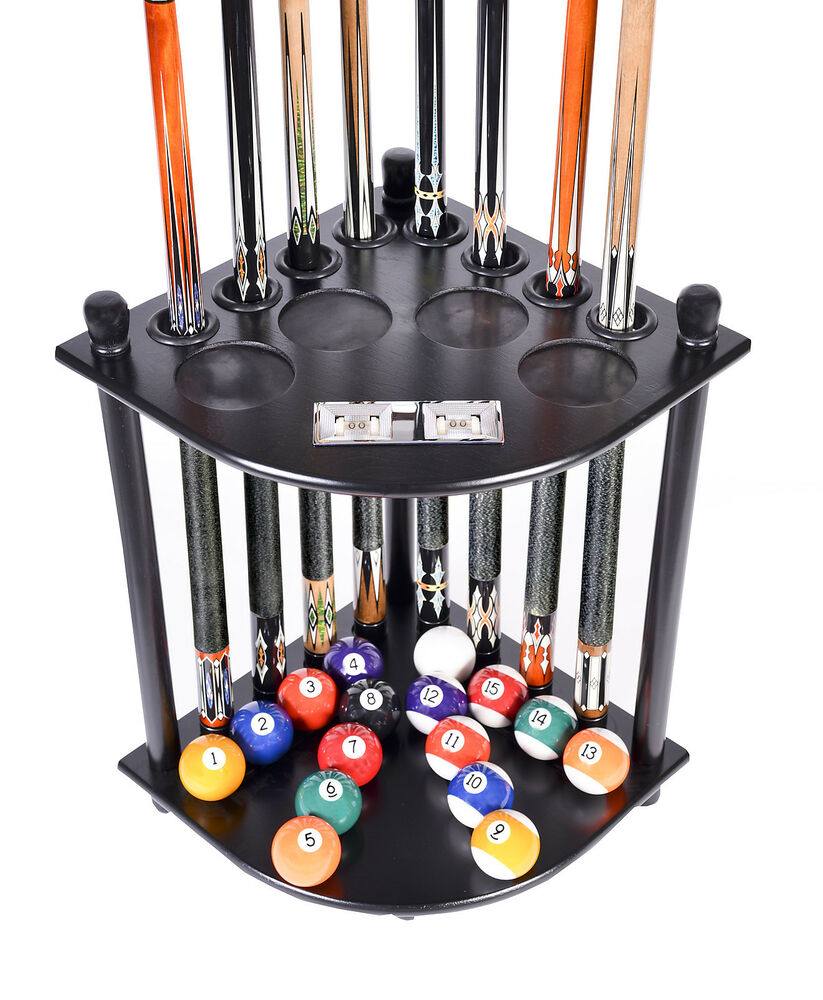 8 Pool Billiard Stick & Ball Floor Stand W