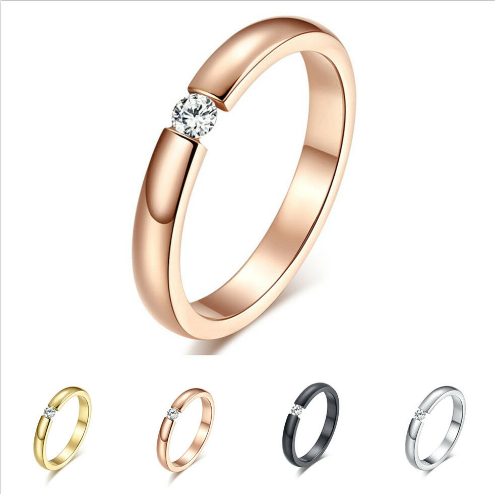 rose gold wedding rings for women 3mm black silver gold cz titanium steel ring men 7125