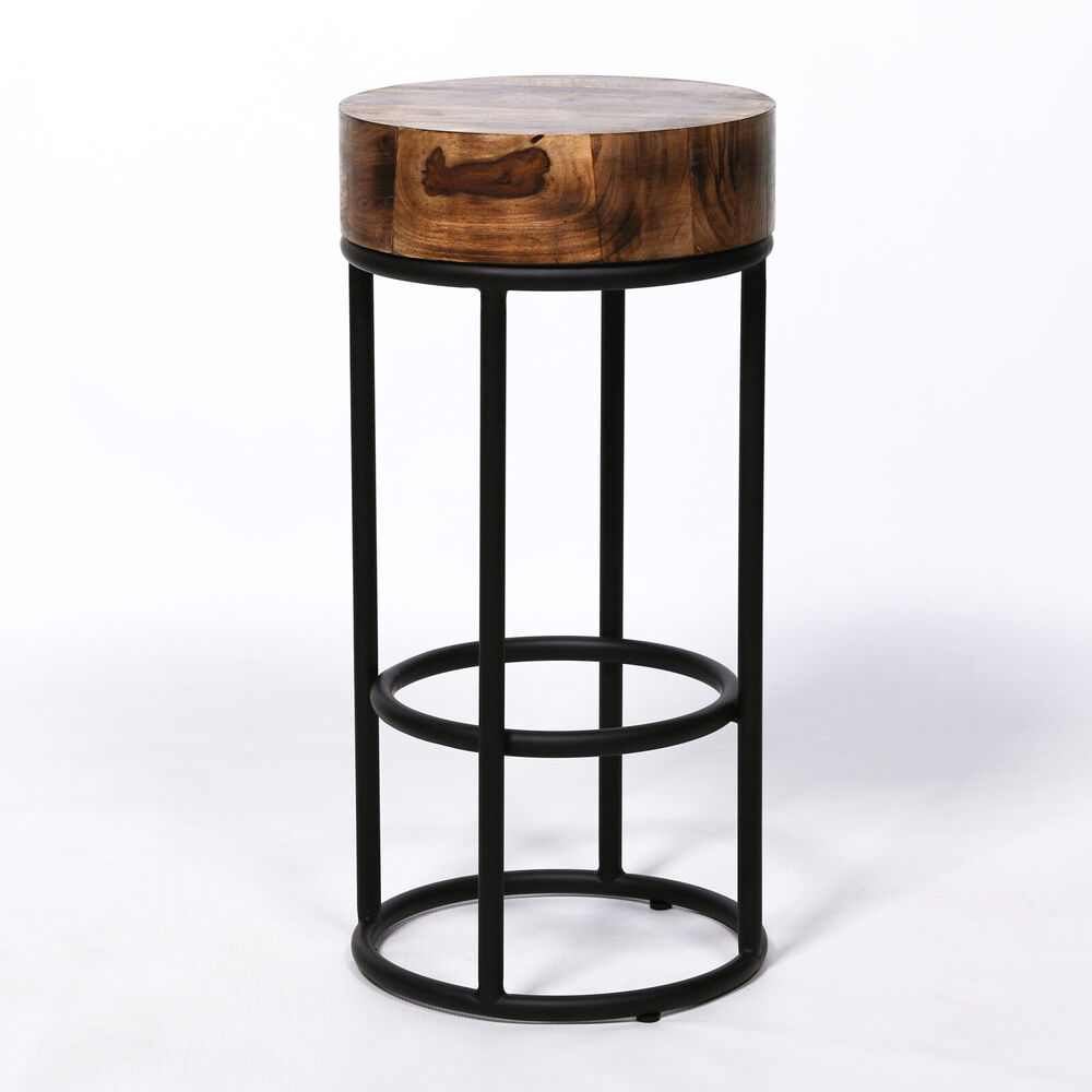 68cm Industrial Metal Black Bar Stool Chunky Round Wooden