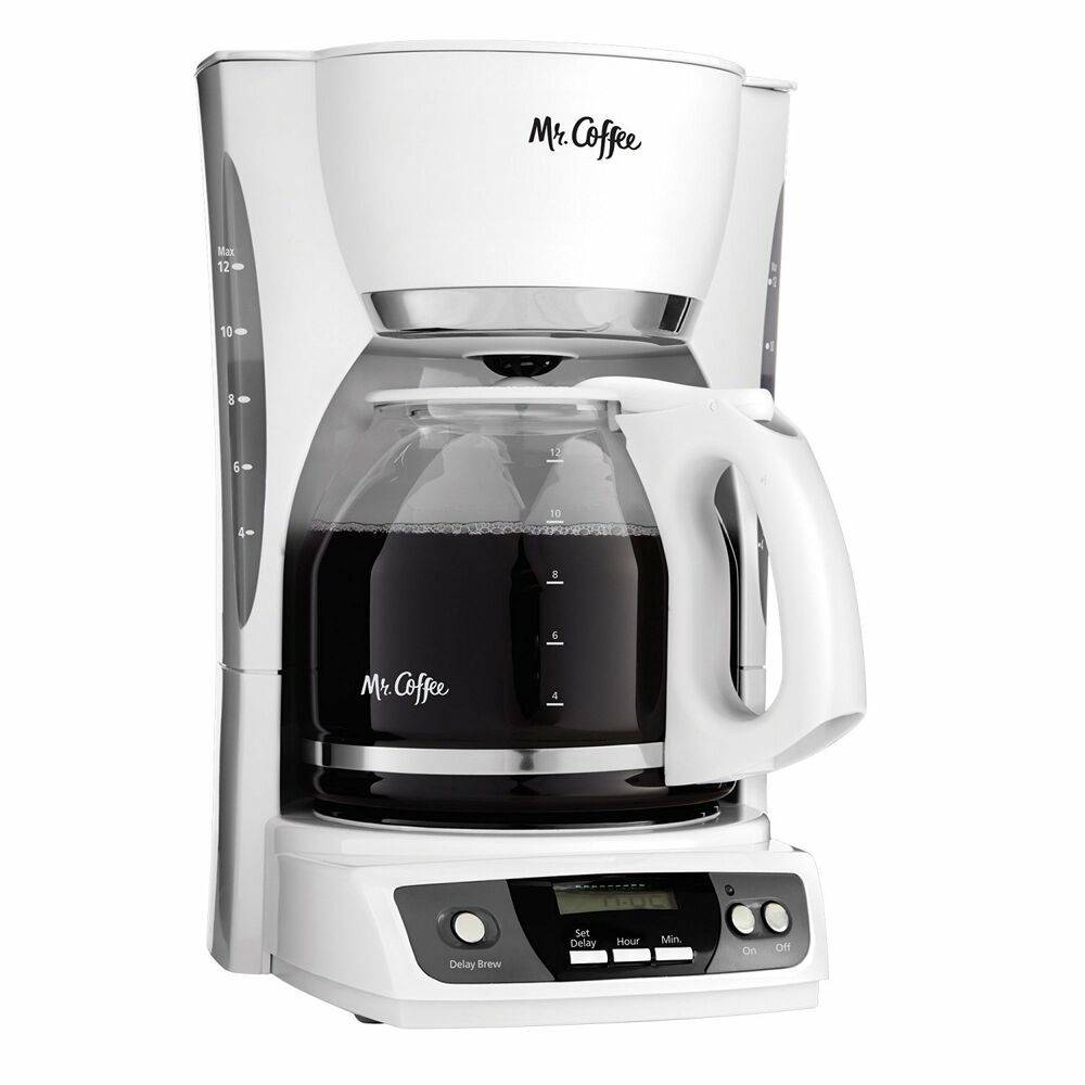 Mr. Coffee CGX20 Digital 12 Cup Programmable Coffeemaker Machine Maker, White 72179228240 eBay