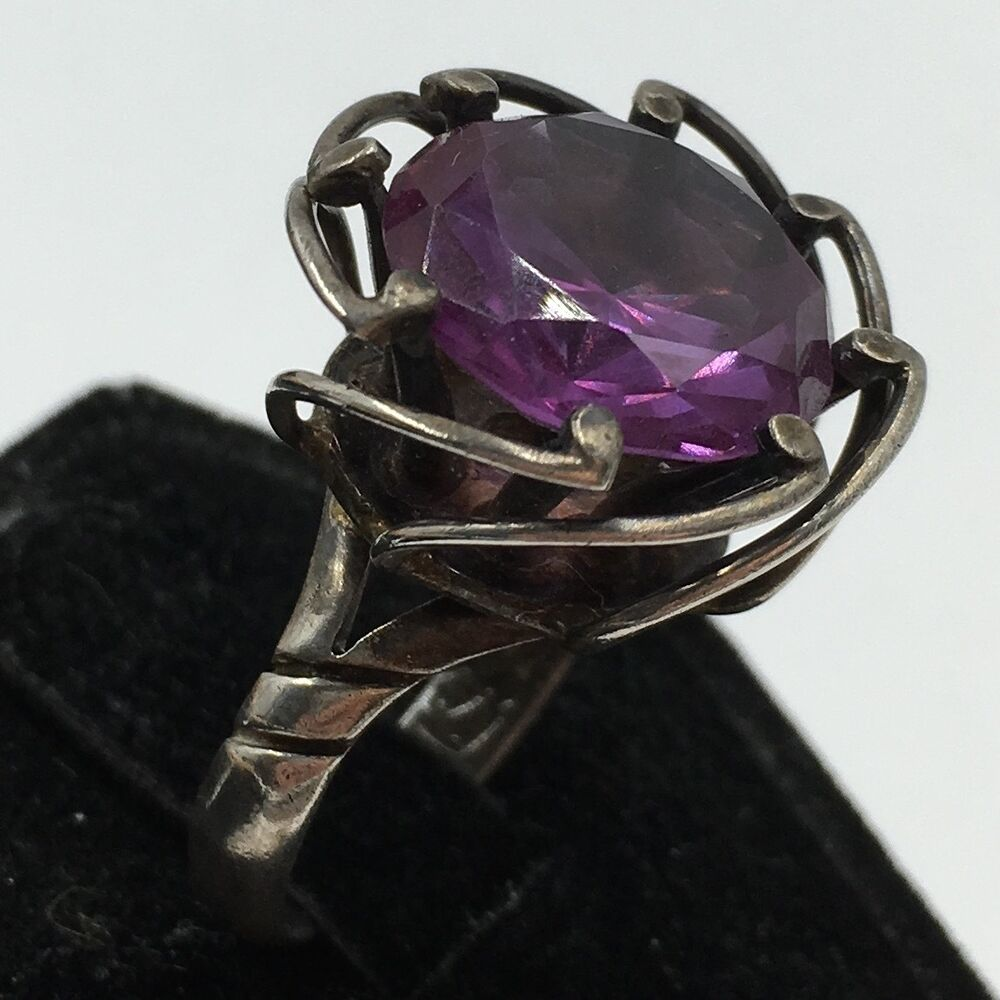 Vintage Mexican Sterling Silver 925 Purple Gemstone Cage