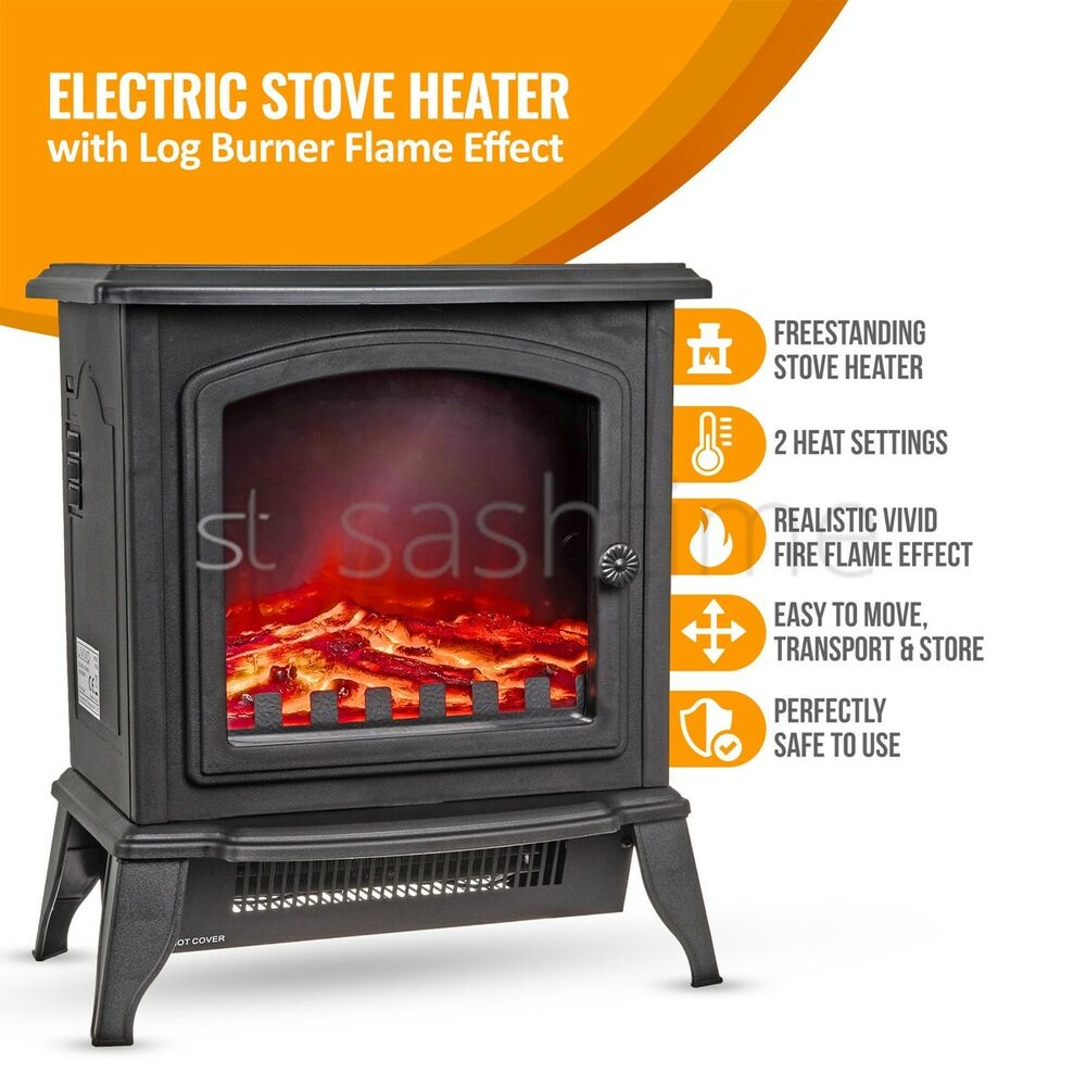 Uk 2000w Fire Place Log Burning Flame Effect Stove Heater