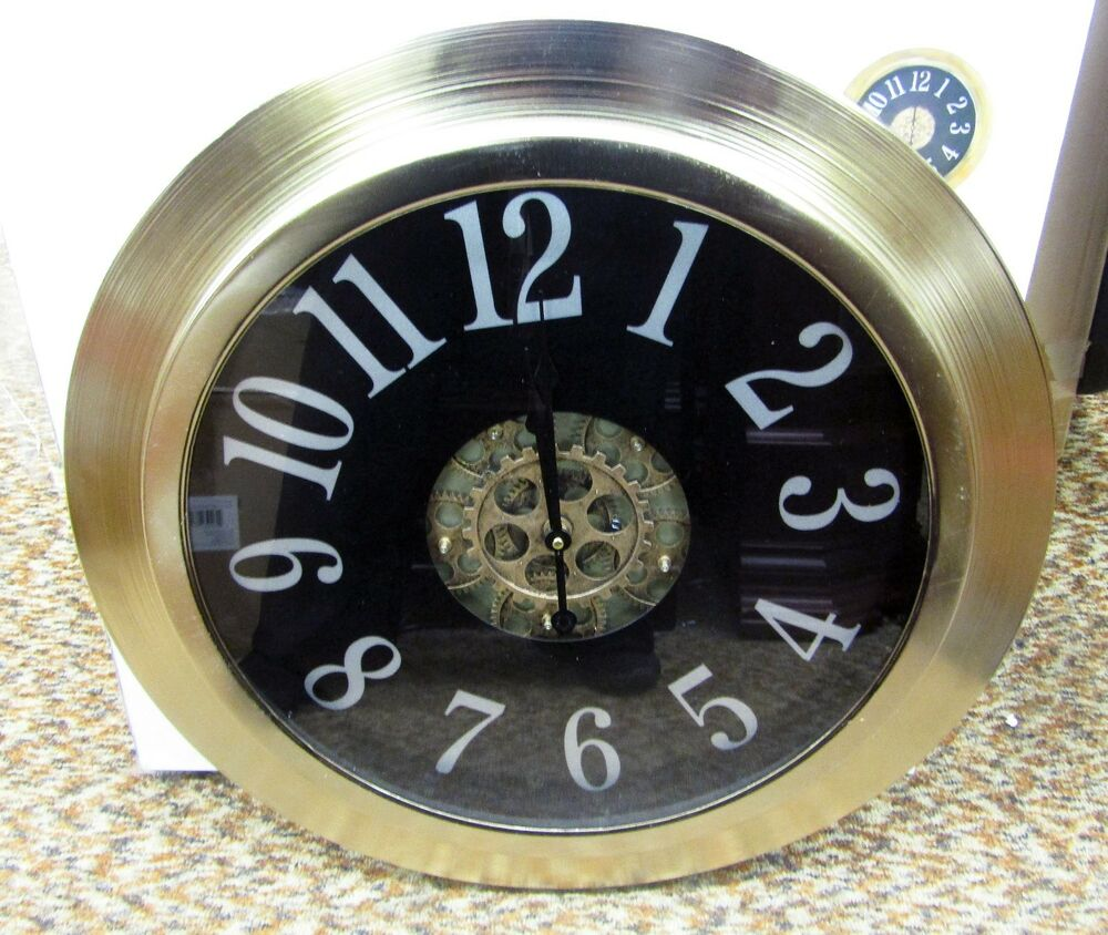 Large 24 Quot Metal Contemporary Wall Clock With Moving Gears