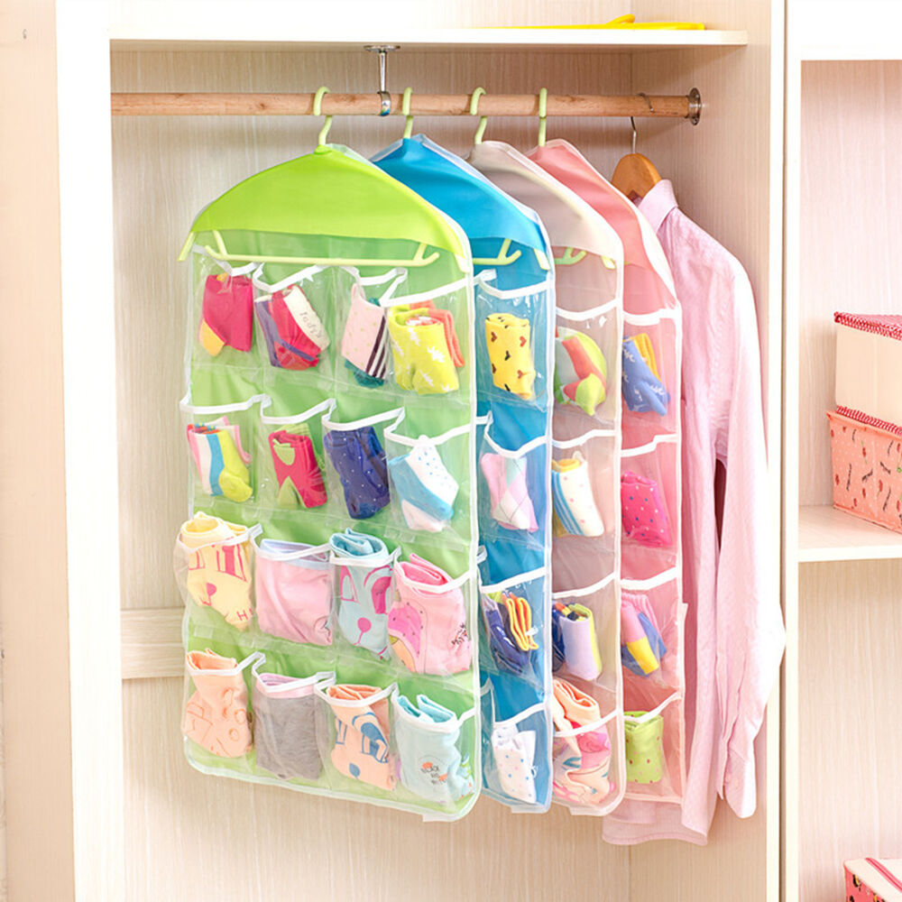 16 pockets clear over door hanging bag shoe rack hanger for Door organizer