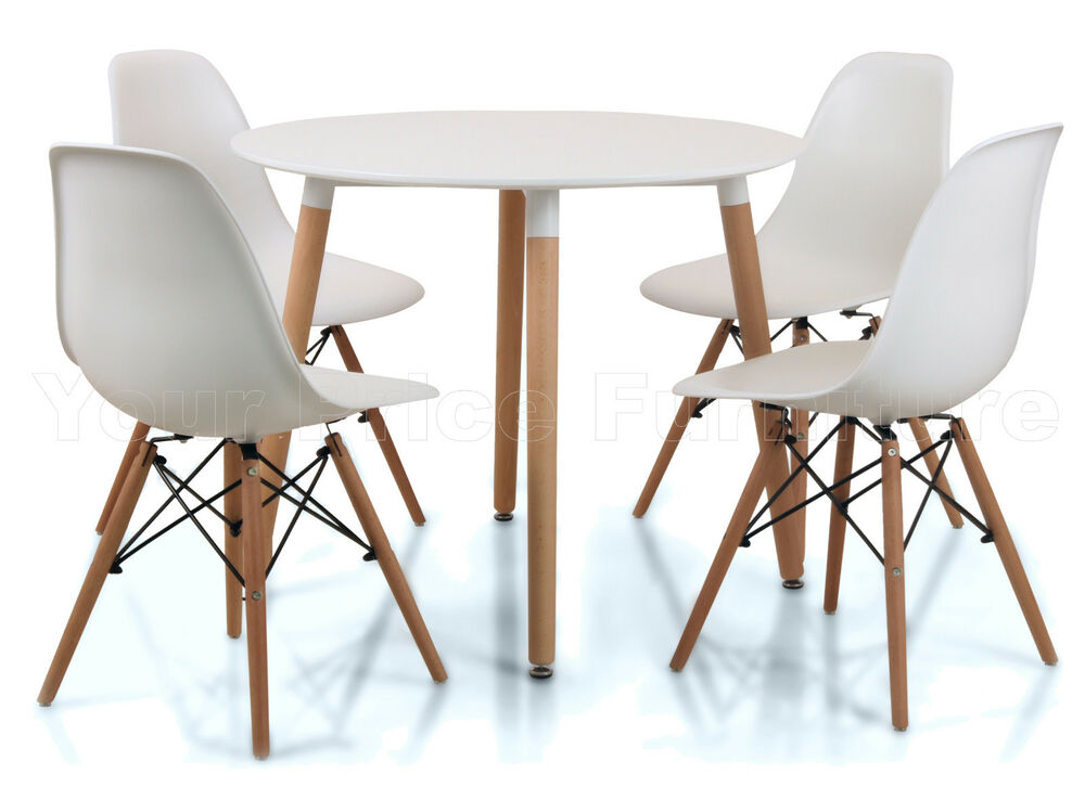 Eiffel small white dining set 90cms round table wood legs for Round dining table set for 4
