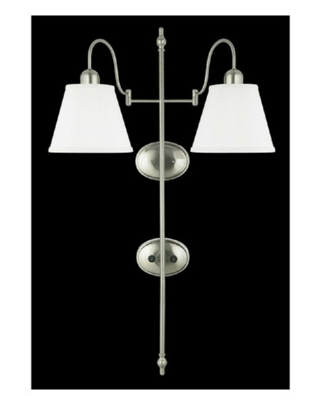 Detalles Acerca De Brushed Nickel Plug In 2 Light Wall Sconce With On Off Switch And Shades