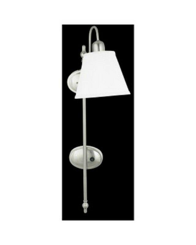Plug In Wall Sconce Glass Shade : Brushed Nickel Plug In Wall Sconce With Shade And On Off Switch eBay
