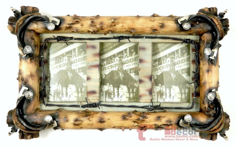 large western rustic collage picture frame wall mounted spurs rope barbed wire ebay. Black Bedroom Furniture Sets. Home Design Ideas