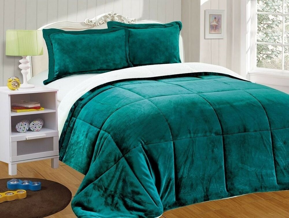 chezmoi collection 3pc micro mink sherpa down alternative comforter king teal ebay. Black Bedroom Furniture Sets. Home Design Ideas
