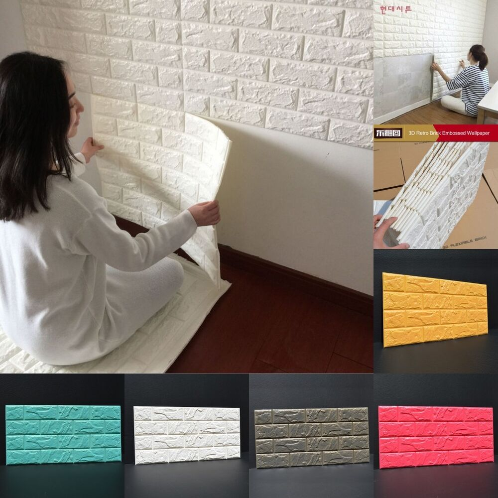 100pcs 3d foam stone brick self adhesive wallpaper diy for 3d brick wall covering