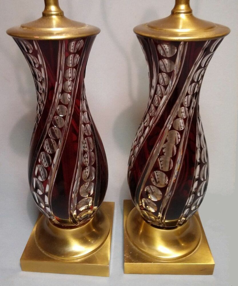 Salt Lamps Importers Germany : Large Pair Vintage Table Lamps: BURGUNDY CUT-TO-CLEAR GLASS, MADE IN GERMANY eBay