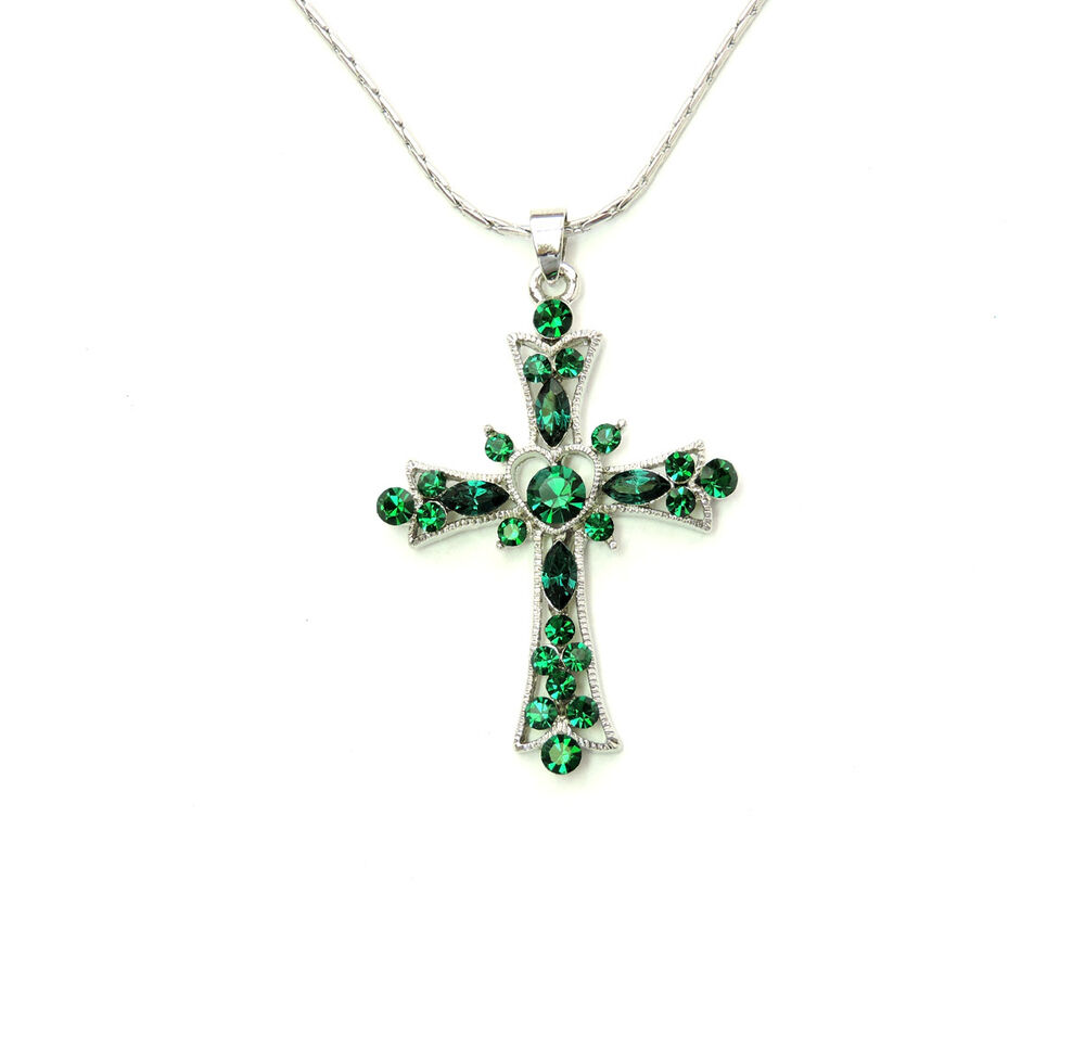 cross crucifix necklace emerald color green