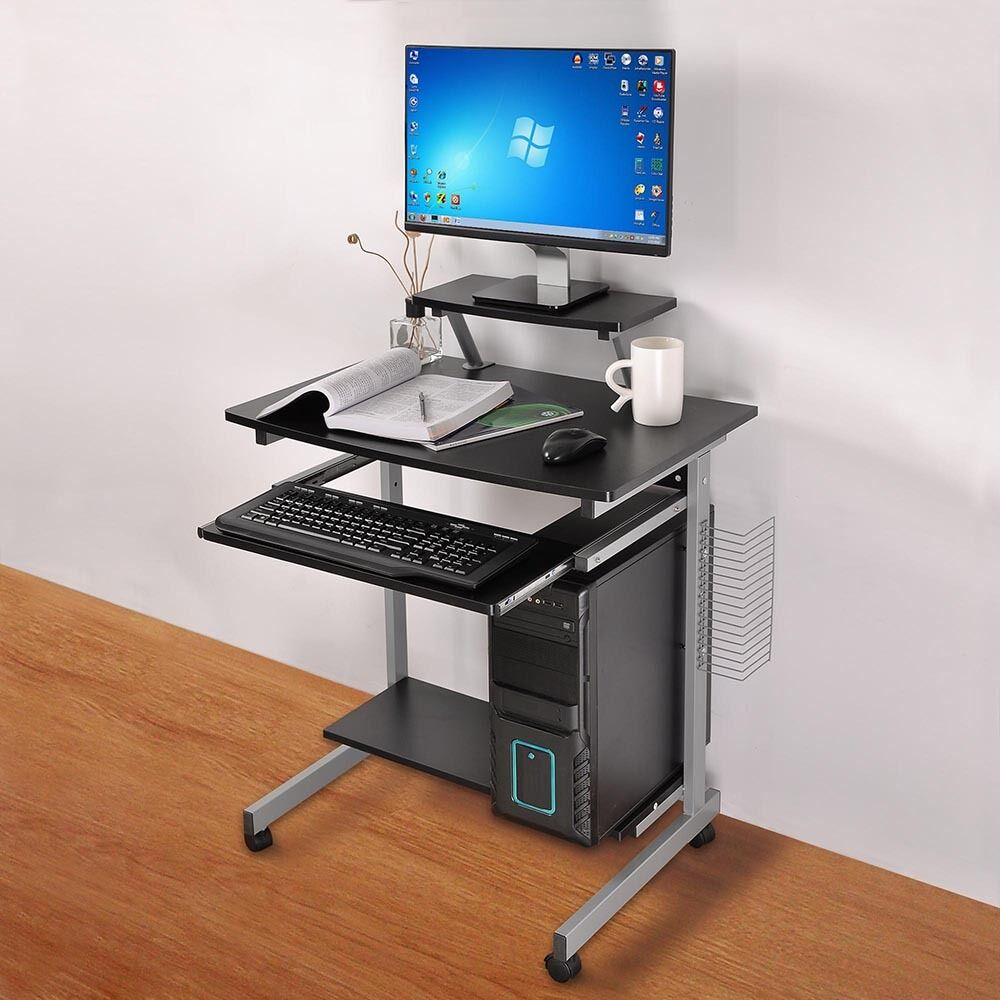 Mobile computer desk compact student laptop cart rolling for Home office workstation desk