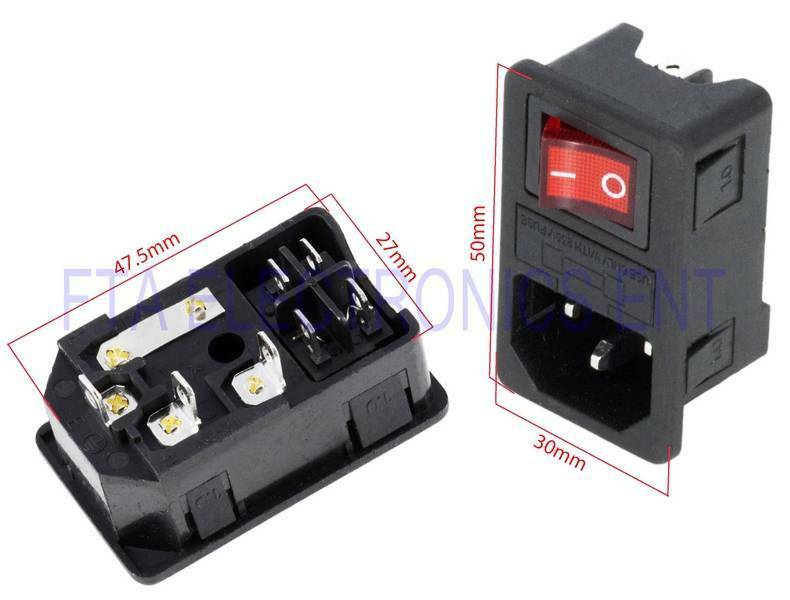 Iec320 C14 Red Light Rocker Switch Fused Fuse Inlet Male
