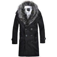 HOT!!Mens Black Fur Collar Double Breasted Long Trench Coat Jacket Outwear M-XXL