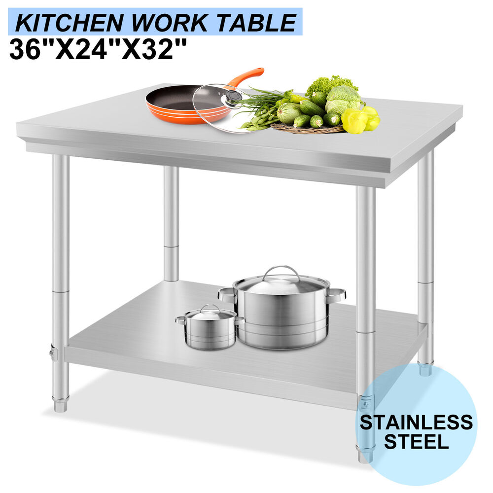 24 x 36 commercial stainless steel kitchen work bench food prep table top nsf ebay - Steel kitchen tables ...