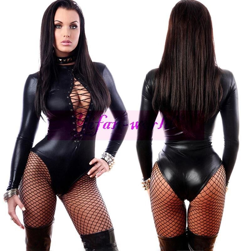 Sexy Women Long Sleeve Wet Look PVC Lace up Front Teddy Catsuit Fetish ...