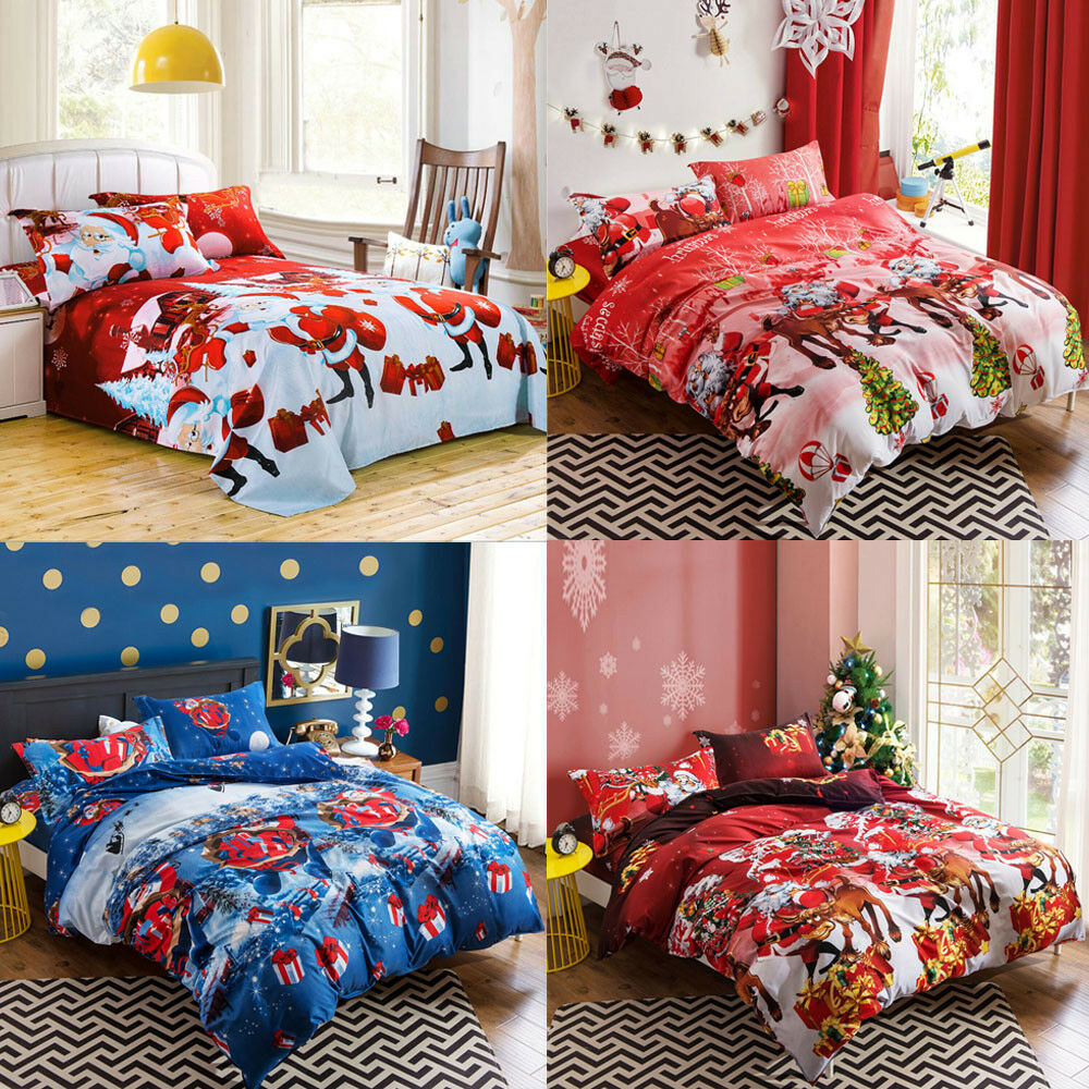 king size 4 piece xmas duvet cover bed sheet pillow case quilt cover bedding set ebay. Black Bedroom Furniture Sets. Home Design Ideas