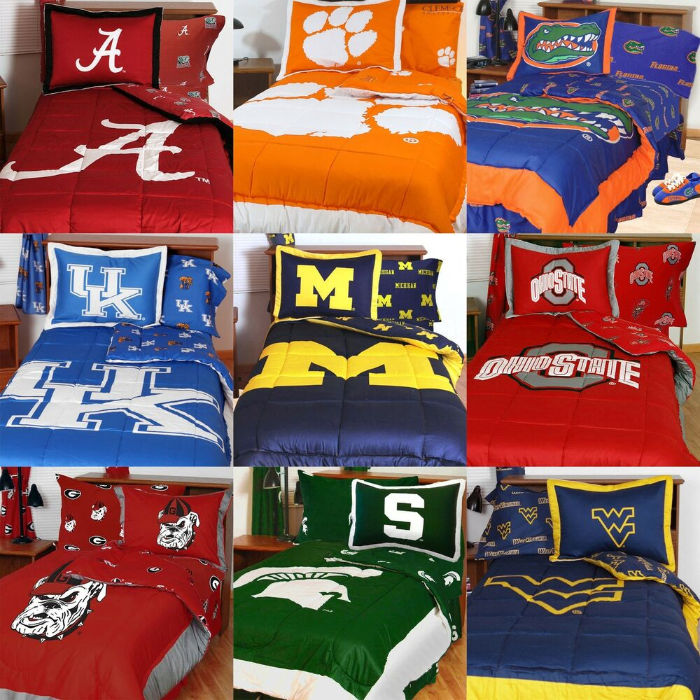 Decorate your bedroom and bathroom with college bedding and decor! With our selection of college comforters, blankets, curtains, sheets and more you can go crazy and decorate the entire room! Our best selling NCAA sports bed in a bag sets make great gifts for the kids, and makes it easy on parents to buy.